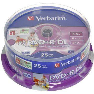 Verbatim DVD+R Double Layer Printable 8x 25ks cakebox