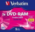 VERBATIM DVD-RAM 9,4GB, 3x, slim box, 5ks