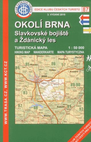 KČT 87 Okolí Brna, Slavkovské bojiště a Ždánský les 1:50 000 cena od 67 Kč