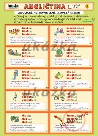 Kupka Angličtina karty 2 - nepravidelné slovesá cena od 40 Kč