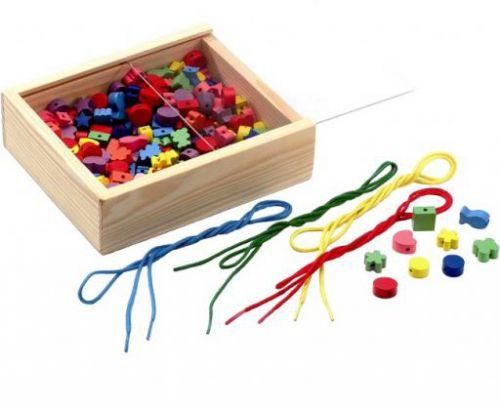 LENA Dřevěné perly se šňůrkami v kazetě cena od 0 Kč