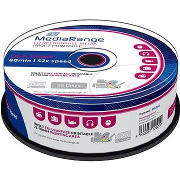 MediaRange CD-R Inkjet Fullsurface Printable 25ks cakebox