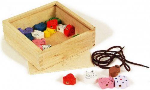 ALEXTOYS Korálky dřevěné v krabičce
