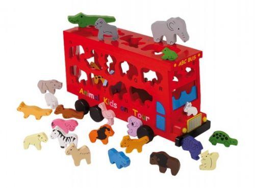 ALEXTOYS Vkladačka dřevěná Autobus se zvířaty