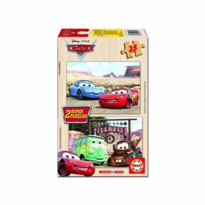 Educa Dřevěné puzzle Cars, 2x25 dílků, dva motivy cena od 0 Kč