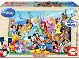 Educa Dřevěné puzzle Disney báječný svět, 100 dílků