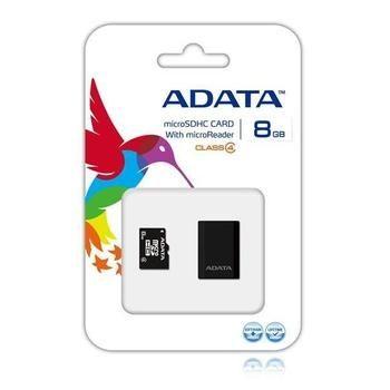 A-DATA microSDHC 8GB + čtečka, AUSDH8GCL4-RM3BKBL, paměťová karta, microSD, SDHC class 4, včetně čtečky USB 2.0 microSD