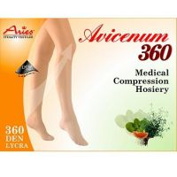 ARIES Avicenum 360 punčochy stehenní krajka otevřená špička 3K světlá