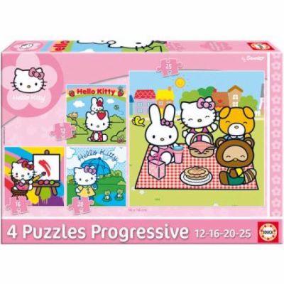 Educa Puzzle Hello Kitty, čtyři motivy, 12,16,20,25 dílk cena od 160 Kč