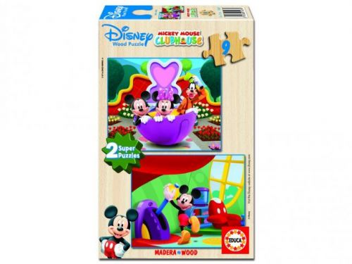Educa Dřevěné puzzle Mickey Mouse Club House 2x9 dílků