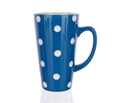 BANQUET Hrnek vysoký modrý s puntíky cena od 60 Kč