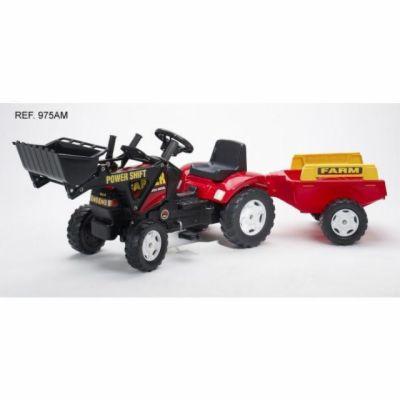 Falk Traktor Farm šlapací s valníkem a lžící červený