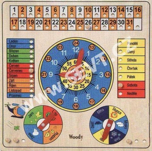 WOODY Víceúčelový kalendář s hodinami a barometrem cena od 344 Kč