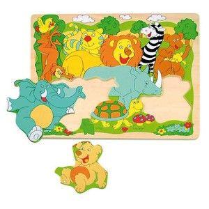 Woody Puzzle na desce Veselá africká zvířátka cena od 119 Kč