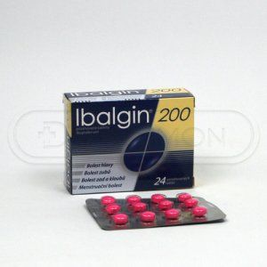 Ibalgin 200 200 mg 24 tablet cena od 28 Kč