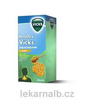 MedDex Vicks sirup med suchý kašel 160mg 120 ml cena od 89 Kč