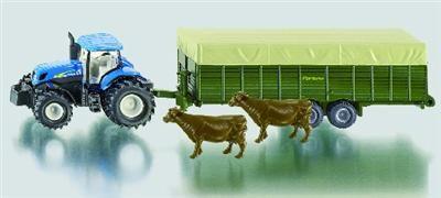 SIKU Farmer Traktor New Holland s vlekem pro přepravu zvířat +2 krávy cena od 269 Kč