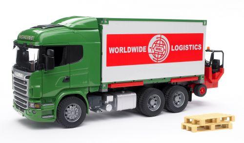 BRUDER SCANIA R s kontejnerem a vysokozdvižným vozíkem 1:16 cena od 1089 Kč