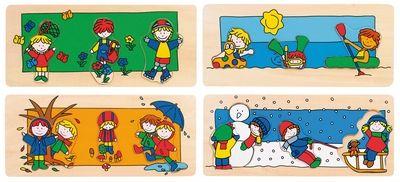 Bino Dřevěné puzzle čtyři roční období 88098 cena od 36 Kč