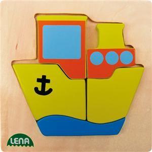 LENA Dřevěné puzzle loď 32088 cena od 117 Kč