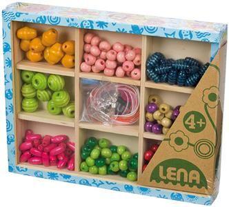 LENA Dřevěné perly v dřevěné kazetě střední 32012 cena od 280 Kč