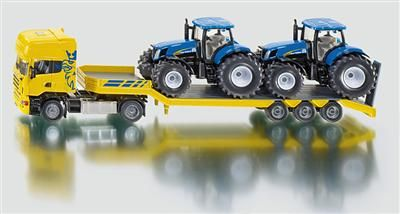 SIKU Farmer - Scania s přívěsem a 2 traktory New Holland T7070
