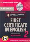 Cambridge University Press Cambridge First Certificate in English 2 for updated exam Self-study Pack (Student´s Book with answers and Audio CDs (2)) cena od 655 Kč