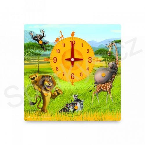Woody Puzzle na desce s hodinami MADAGASKAR cena od 249 Kč