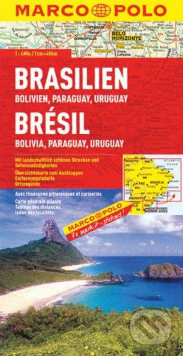 Brazílie, bolívie, paraguay, uruguay 1: 4 000 000 cena od 140 Kč