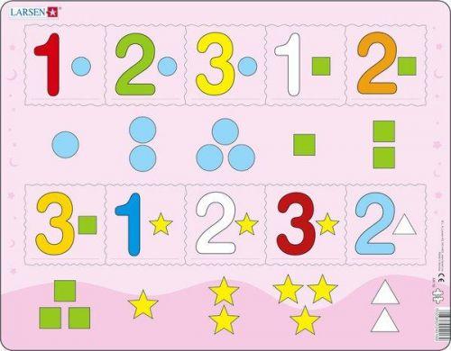LARSEN Puzzle - Čísla 1-3 s grafickými znaky, 10 dílků