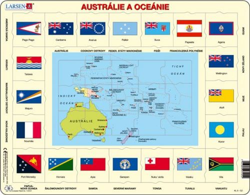 LARSEN Puzzle - Mapa Austrálie a Oceánie + vlajky, 35 dílků