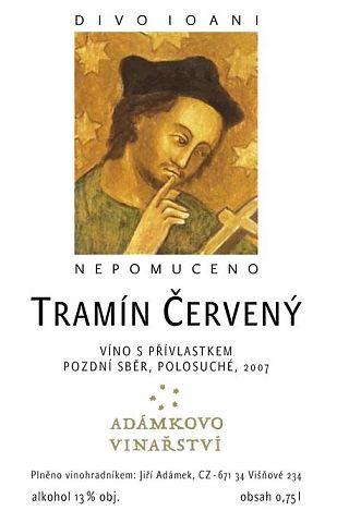 Adámkovo Vinařství TRAMÍN ČERVENÝ POZDNÍ SBĚR 2010 0,75 L