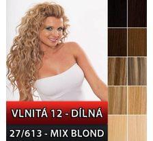 Clip in sada vlnitá 12 dílů - 57 cm, odstín 27/613 - mix blond SVĚTOVÉ ZBOŽÍ