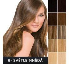 Lidské vlasy - Clip in sada Remy - 55 cm - 7 dílná - odstín 6 - světle hnědá SVĚTOVÉ ZBOŽÍ