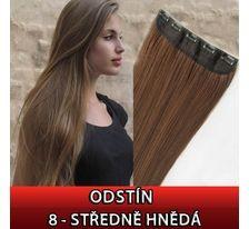 Clip in vlasy - 60 cm dlouhý pás vlasů - odstín 8 - středně hnědá SVĚTOVÉ ZBOŽÍ