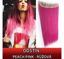 Clip in vlasy - 60 cm dlouhý pás vlasů - růžová PEACH PINK SVĚTOVÉ ZBOŽÍ
