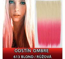 Clip in vlasy - 60 cm dlouhý pás vlasů - ombre styl 613/RŮŽOVÁ SVĚTOVÉ ZBOŽÍ