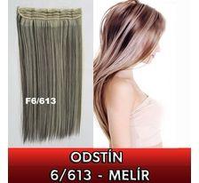 Clip in vlasy - 60 cm dlouhý pás vlasů - odstín 6/613 - melír SVĚTOVÉ ZBOŽÍ