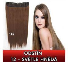 Clip in vlasy - 60 cm dlouhý pás vlasů - odstín 12 světle hnědá SVĚTOVÉ ZBOŽÍ