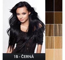 Lidské vlasy - Clip in sada Remy - 55 cm - 7 dílná - odstín 1B - černá SVĚTOVÉ ZBOŽÍ