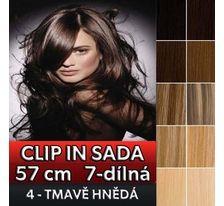 CLIP IN SADA - 57 cm, 7 - dílná, odstín 4 - tmavě hnědá SVĚTOVÉ ZBOŽÍ