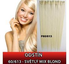 Clip in vlasy - 60 cm dlouhý pás vlasů - 60/613 světlý mix blond SVĚTOVÉ ZBOŽÍ