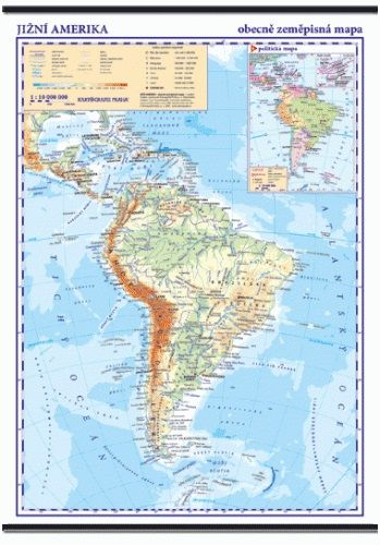 Kartografie PRAHA, a. s. Jižní Amerika - nástěnná obecně zeměpisná mapa - 1 : 10 000 ... cena od 799 Kč