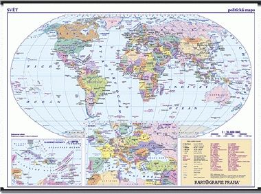 Kartografie PRAHA, a. s. Svět - nástěnná politická mapa - 1 : 28 000 000 cena od 1013 Kč