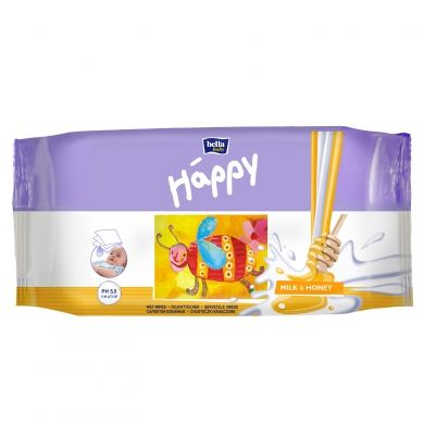 BELLA Happy vlhké utěrky mléko & med 64 kusů