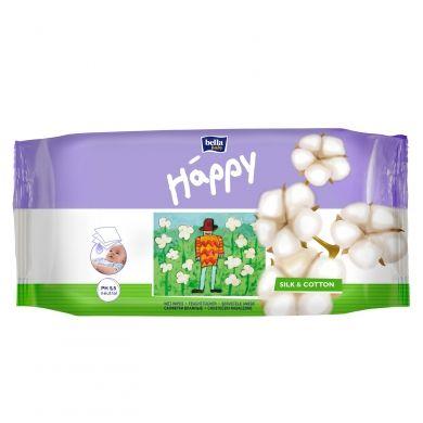 BELLA Happy vlhké utěrky hedvábí & bavlna 64 kusů