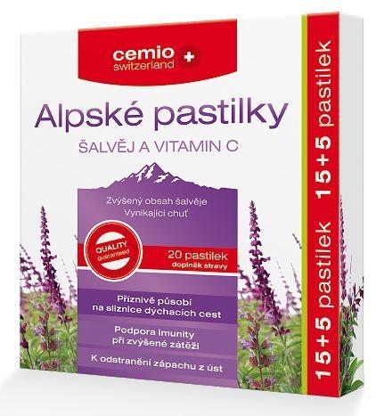 Cemio Alpské pastilky ŠALVĚJ A VITAMIN C 15 pastilky cena od 41 Kč