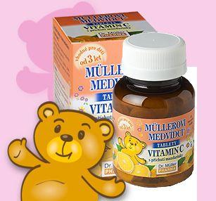 Müllerovi medvídci s vitamínem C s příchutí mandarinek 45 tablet