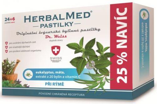 HerbalMed Eukalypt + máta + vitamín C 24+6 pastilky cena od 84 Kč