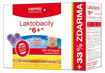 Laktobacily 6+ 30+10 kapslí cena od 150 Kč